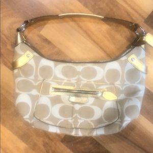 Coach Small purse in cream, tan & gold